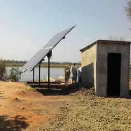 Solar pump station installed at the Shire River inside Liwonde National Park