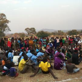 STEP staff offer a training on safety around elephants following a football match in Rungwa.