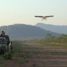 STEP airplane takes off from Makwasa airstrip, Rungwa Game Reserve