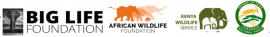 The logos of African Wildlife Foundation, Big Life Foundation, Kenya Wildlife Service, Tanzania Wildlife Division and Tanzania National Parks who are partners in the Greater Kilimanjaro Landscape initiative.